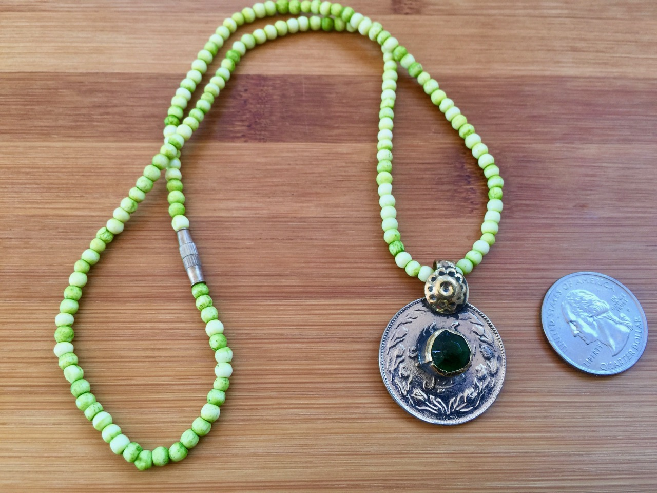Handmade Afghanistan Pakistan Vintage Kuchi Green Glass Coin Medallion Bone Beaded Necklace