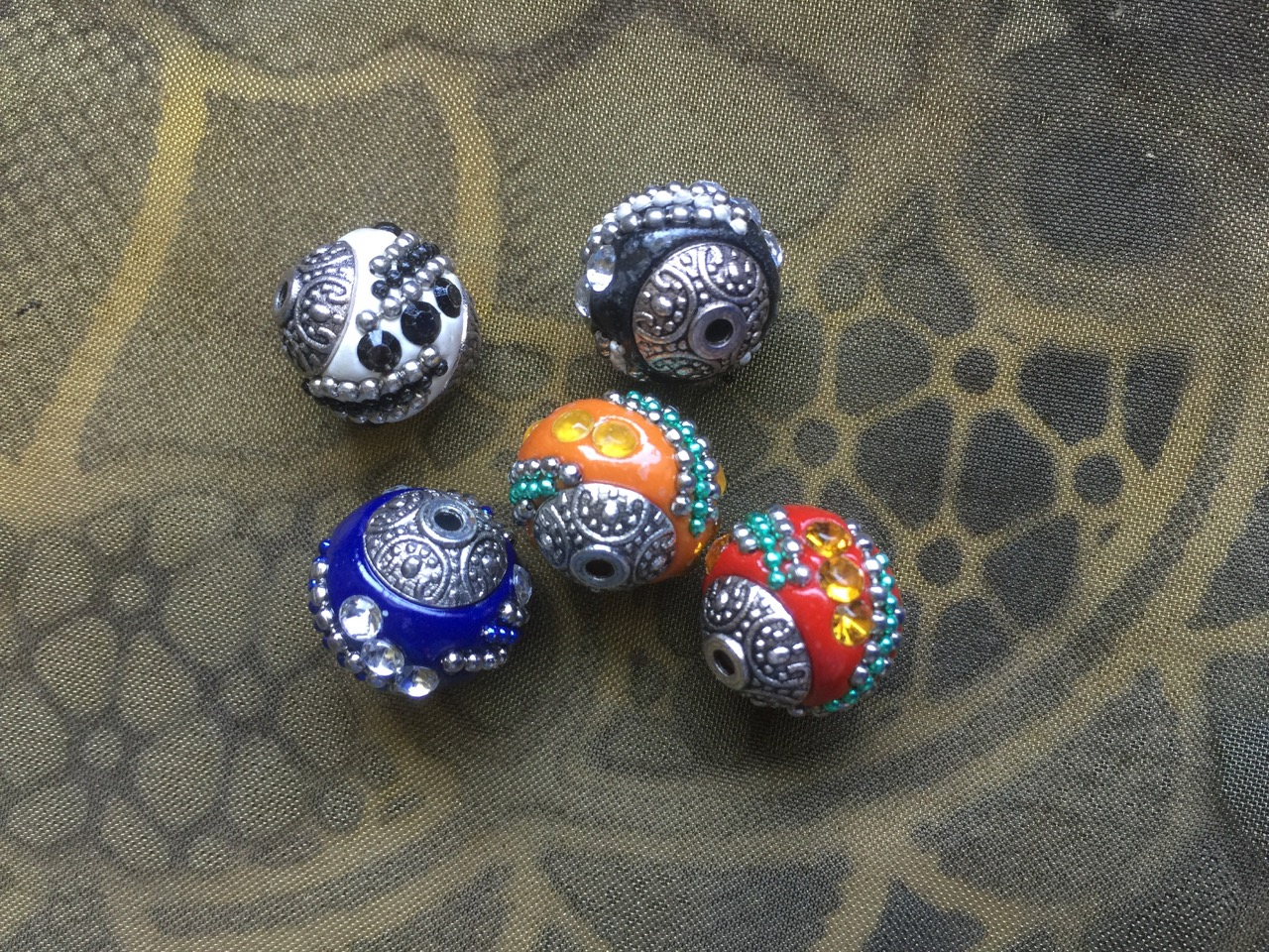 Handmade Indonesian 15mm Kashmiri Beads with Antique Silver Accents Buy More and Save!
