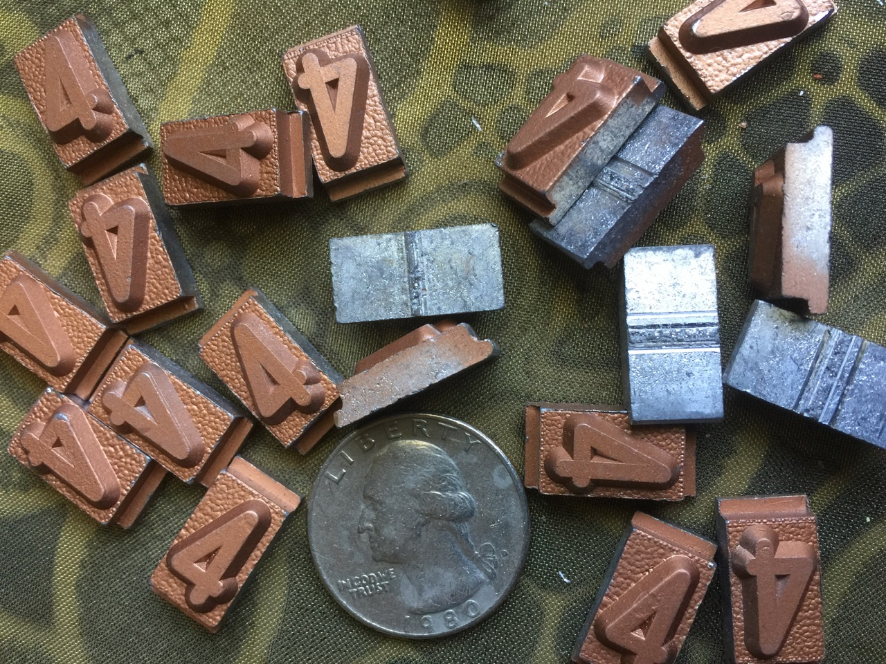 Vintage metal type - 3/8 inch wide by 3/4 inch tall - Number 4