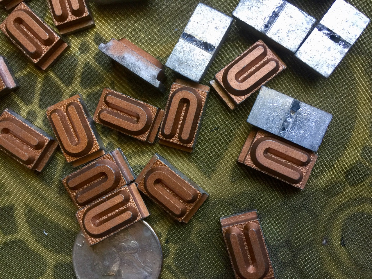 Vintage metal type - 3/8 inch wide by 3/4 inch tall - Letter U