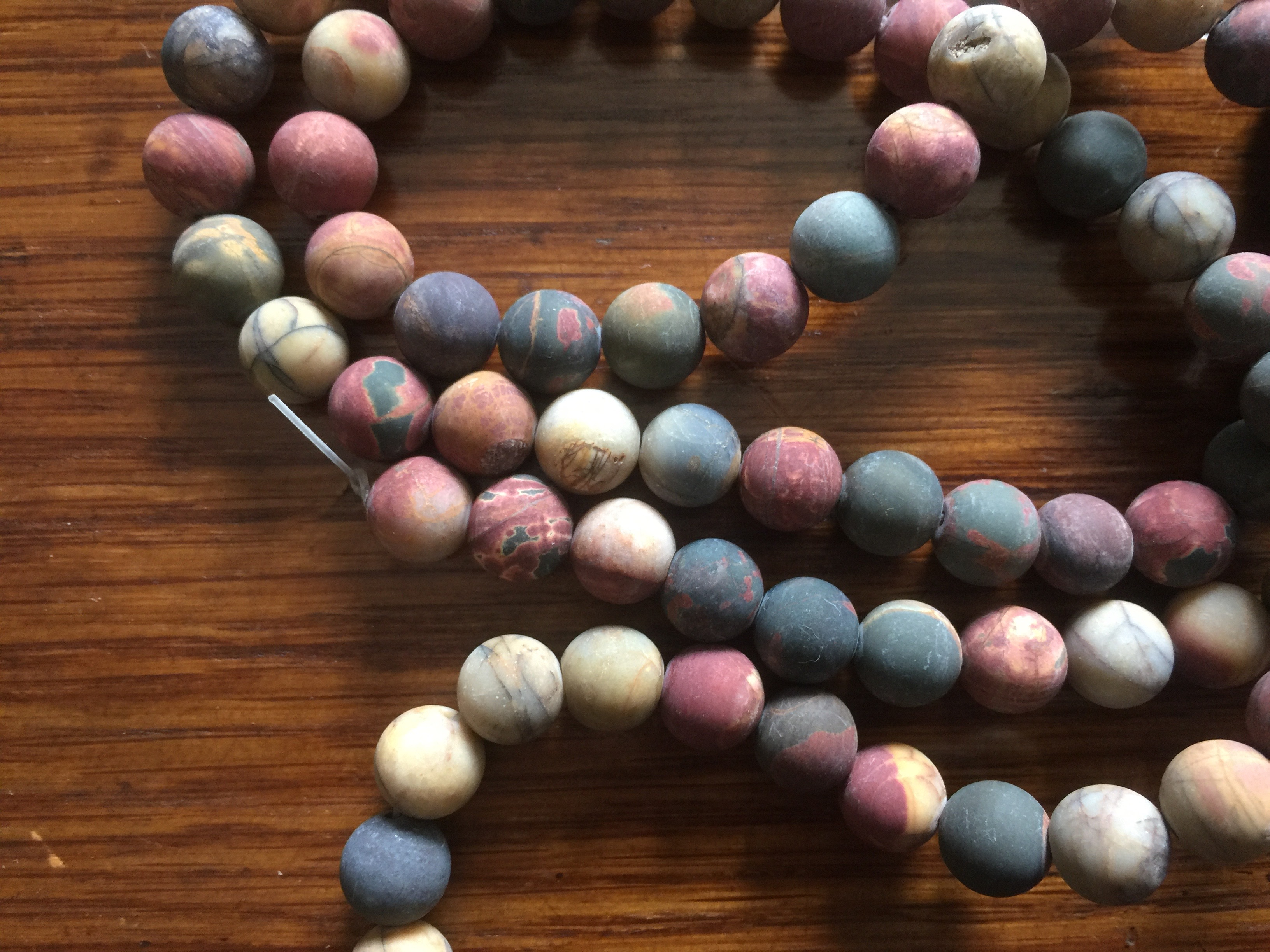 Full Strand 8mm Frosted Matte Round Picasso Jasper Beads 45 Beads
