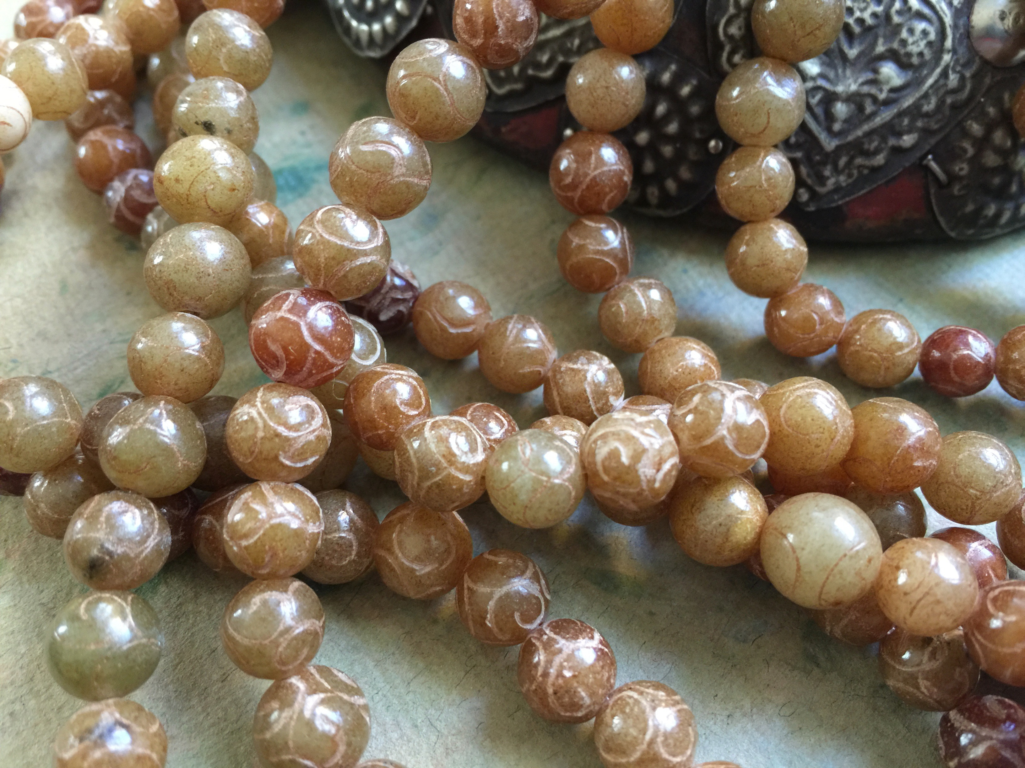 Antique Jade Carved Round Beads 8mm Amber Tones