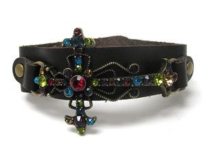 Vegan Leather Crystal Stud Cross Cuff Bracelet