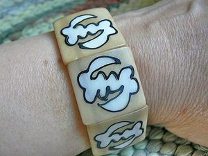 Adinkra Gye Nyame Bone Batik Bracelet Ivory on Antique Bone