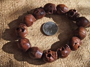 13x15mm wood skull bead mala bracelet