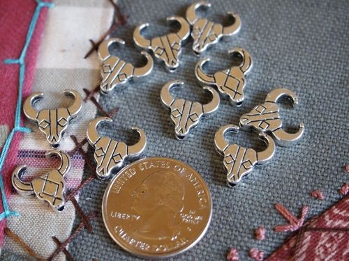 10 Antique Silver Bull Skull Beads or Charms