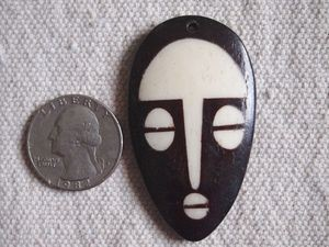Batik Bone Tribal Mask Pendant