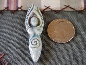 Porcelain Ceramic Raku Winged Goddess Pendant