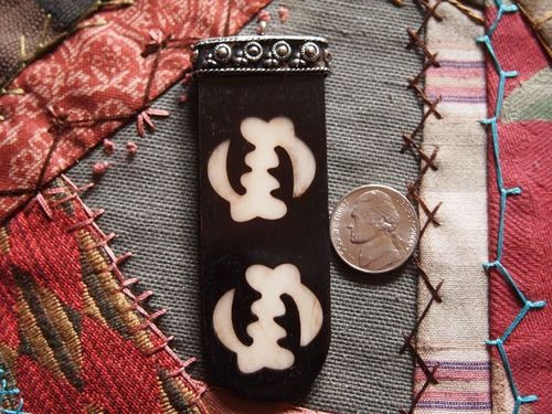 Adinkra Ivory on Dark Bone Batik Double Gye Nyame Tongue Pendant with Silver Cap and Loop