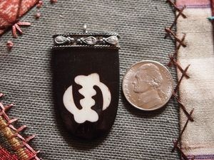 Adinkra Ivory on Dark Bone Batik Gye Nyame Pendant with Silver Cap and Loop