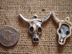 Antique Silver Bull Skull Pendant or Charm