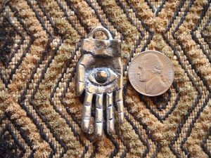 Solid Brass or Silvertone Eye in Hand Pendant
