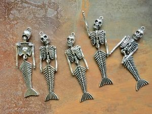 5 Pcs Articulated Antique Silver Mermaid Skeleton Pendants