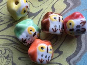Handpainted Round Porcelain Owl Beads - Packs of Five