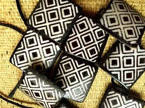 Bone Adinkra Ani Bere Diligence 25mm Square Beads Ivory on Ebony Mudcloth Strand