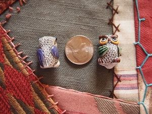 Large Porcelain Ceramic Owl Bead