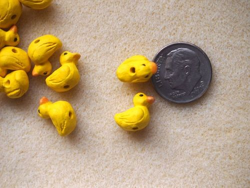 Teenie tiny ceramic yellow duck beads