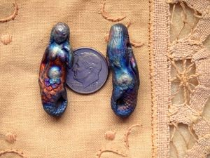 Iridescent Matte Raku Ceramic Mermaid Bead
