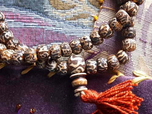 108 rondelle bead Tibetan handcarved OM mala 8mm necklace