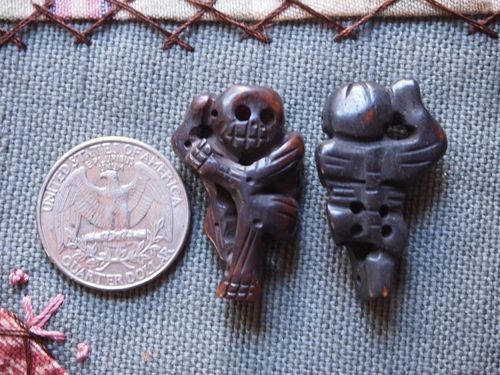 Bone:  Hanging Bone Skeleton Beads - ebony