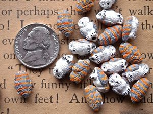 Teenie tiny ceramic barn owl beads