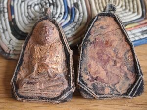 Large Triangular Thai Buddha Buddhist Clay Amulet Pendant with Macrame Bezel and Gold Leaf