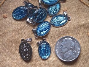 Blue Enamel and Silver Miraculous Medal