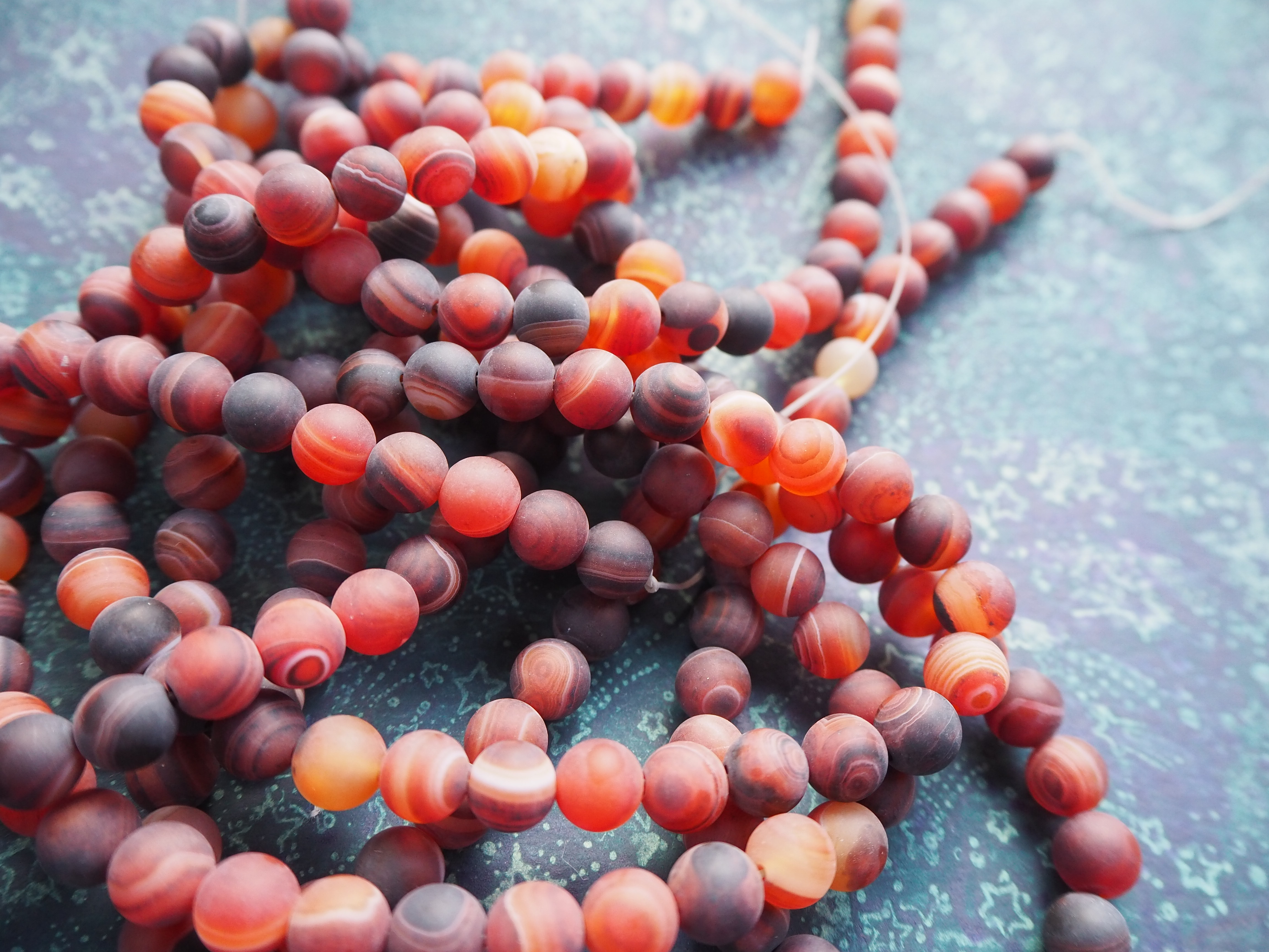 Full Strand 8mm Frosted Matte Round Red Striped Agate Beads 47 Beads
