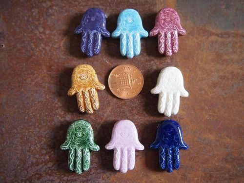 Porcelain Ceramic Large Hamsa Hand Bead in Assorted Colors