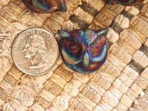 Large Iridescent Matte Raku Ceramic Owl Head Bead or Pendant