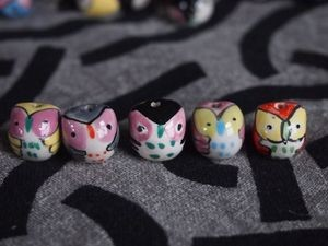 Five Handpainted Porcelain Owl Beads