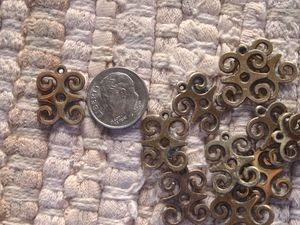 Small Brass or Silver Adinkra DWENNIMMEN Ram's Horns Charm 13x18mm