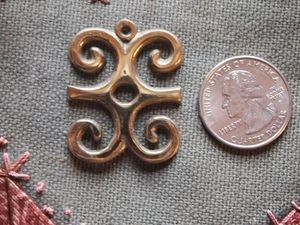 Brass Adinkra DWENNIMMEN Ram's Horns Charm or Pendant 35mm