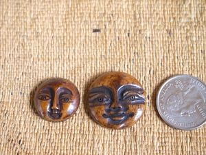 Bone Round Dark Carved Moon Face Bead/Cabochon-Choose size