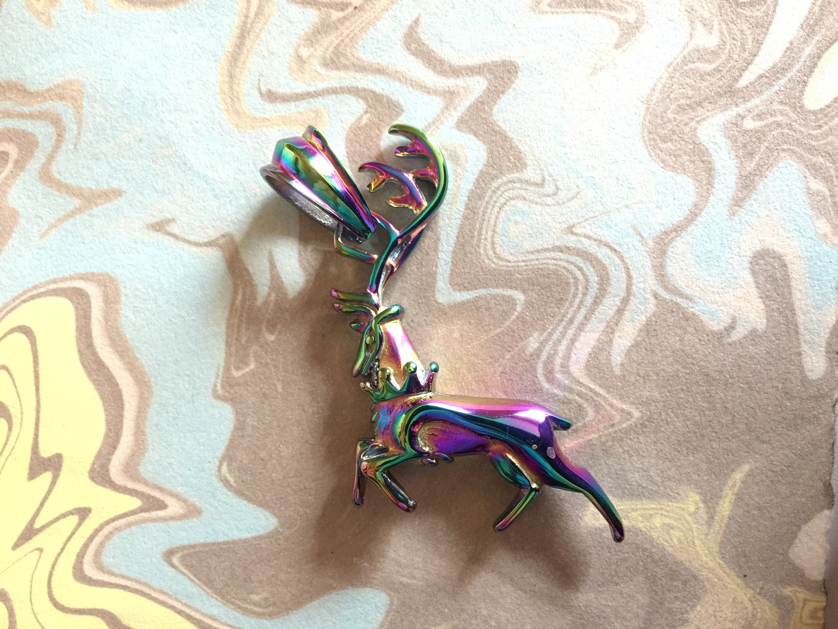 Rainbow Plated Stainless Steel Deer Pendant