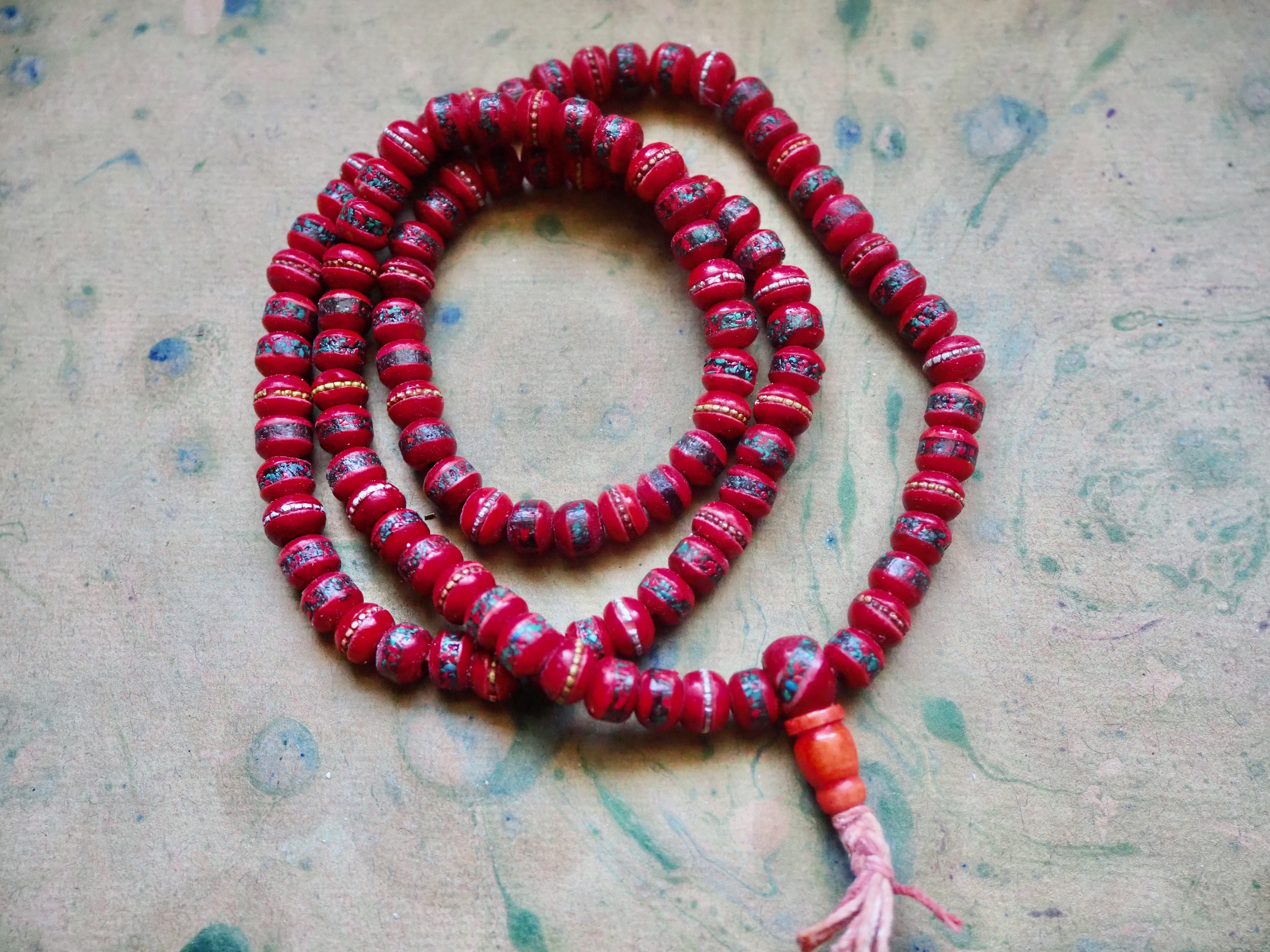 108 Red Yak Bone 7x9mm Rondelle Beads with Inlaid Copal and Turquoise Chips