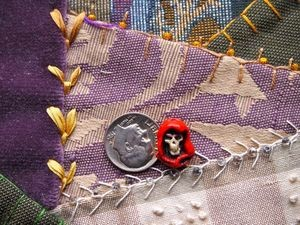 Teenie Tiny High fired porcelain santa muerte holy death skull head bead