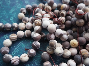 Full Strand 10mm Frosted Matte Round Australian Brown Zebra Jasper 37 Beads