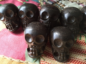 25mmx38mm Large Dark Brown Bone Skull Bead/Pendant