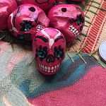 Large Hot Pink Painted Day of the Dead Skull Bead