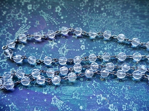ONE METER Clear Faceted Round 6mm Glass Beads Beaded Rosary Chain with Gunmetal Silver Links