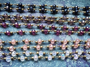 ONE METER Electroplated 6x8mm Faceted Abacus Glass Beaded Rosary Chain with 3mm Antique Bronze Beads/Links in Choice of Glass Bead Colors