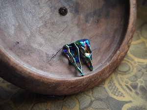 Rainbow-Plated Petite 30mm Crow or Raven Pendant or Charm