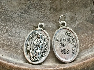 Bilingual SPANISH-English Nuestra Senora Guadalupe Our Lady Guadalupe Oval Medal