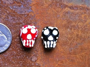 Two Red and Black Lampwork Glass Skull Beads