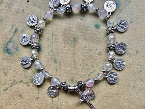 Stations of the Cross Bracelet with Oxidized Silver Medals and Clear Beads