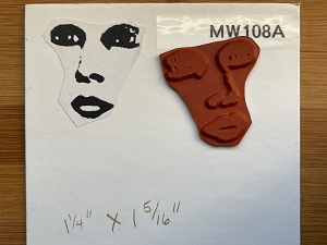 MW108A Mannequin Face Red Rubber Stamp