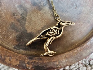 Brass-plated Raven or Crow Skeletal Body Pendant Necklace
