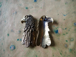 Brass or Silver Eagle Head Pendant