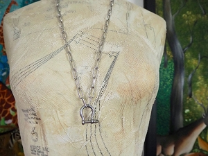 Silver-plated Brass Chunky Paperclip Chain with Shackle Charm Holder Necklace